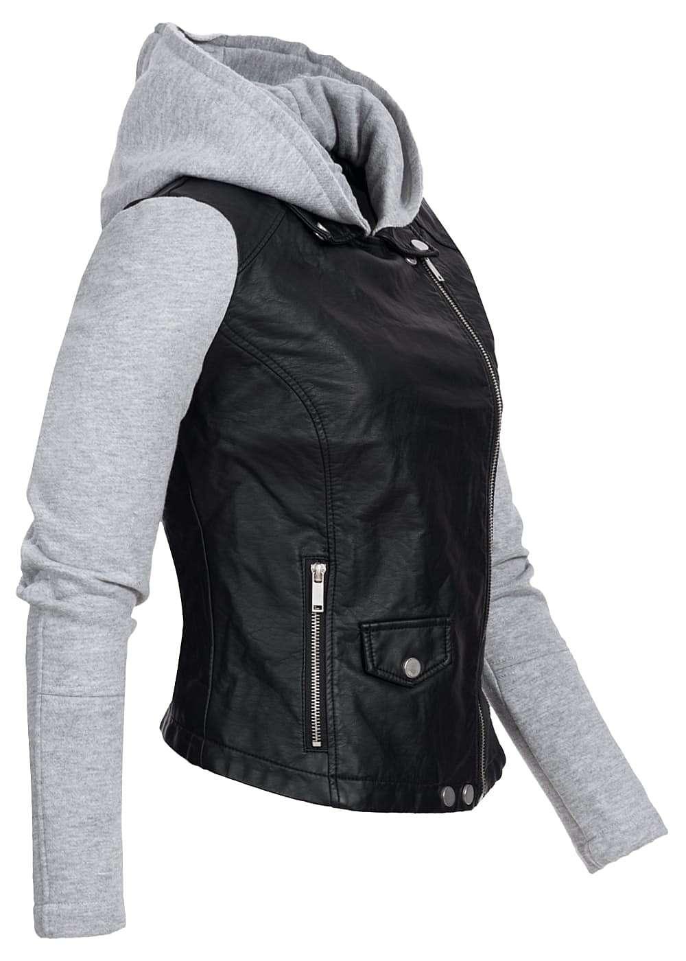 styleboom fashion damen kunstleder jacke kapuze zipper seitlich schwarz grau 77onlineshop. Black Bedroom Furniture Sets. Home Design Ideas