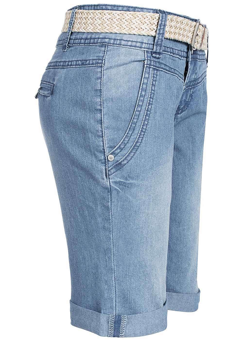 eight2nine damen jeans bermuda short g rtel 4 pockets by sublevel medium blau denim 77onlineshop. Black Bedroom Furniture Sets. Home Design Ideas