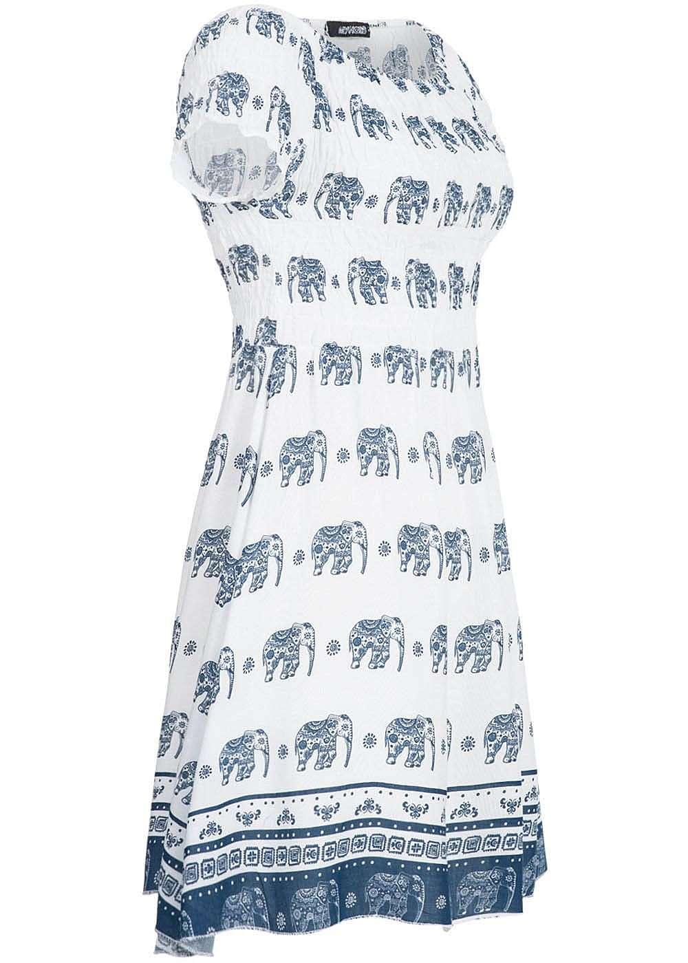 hailys damen mini kleid carmen ausschnitt elefanten muster. Black Bedroom Furniture Sets. Home Design Ideas
