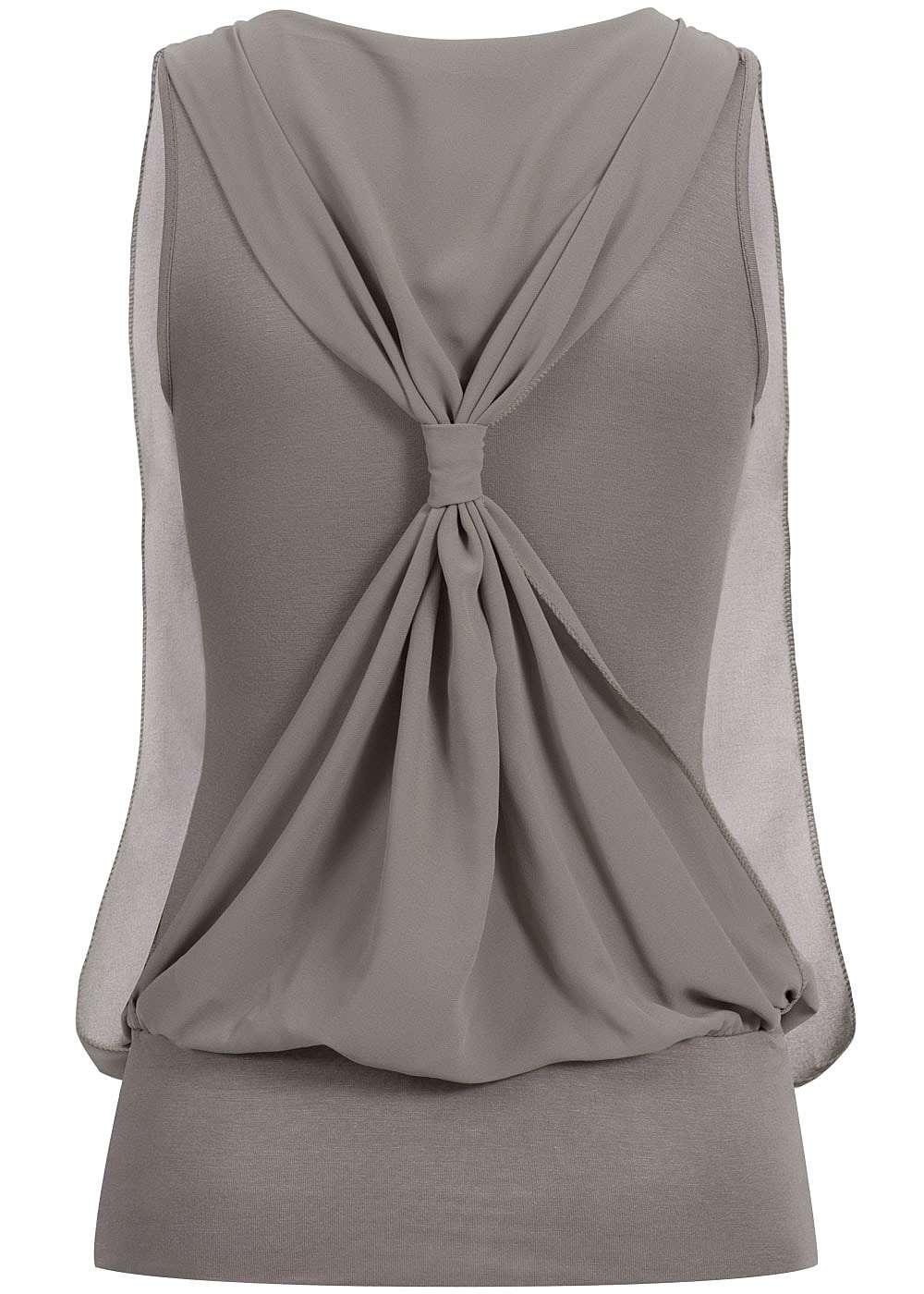 Styleboom fashion damen chiffon top deko knoten hinten 2 for Top deko shop