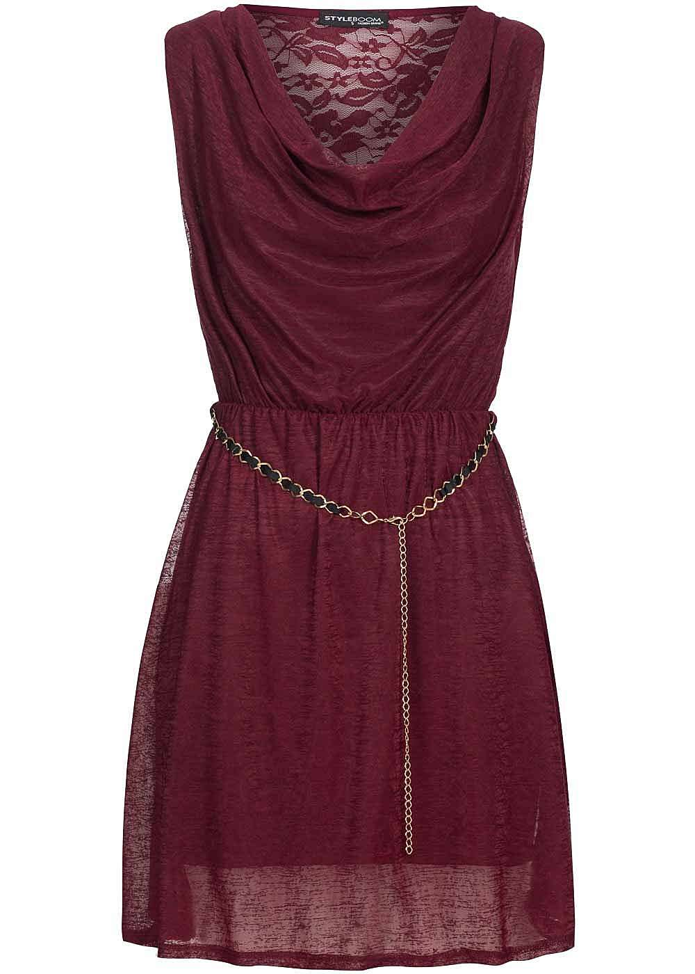 styleboom fashion damen mini wasserfall kleid gummizug mit gliederkette spitze bordeaux. Black Bedroom Furniture Sets. Home Design Ideas