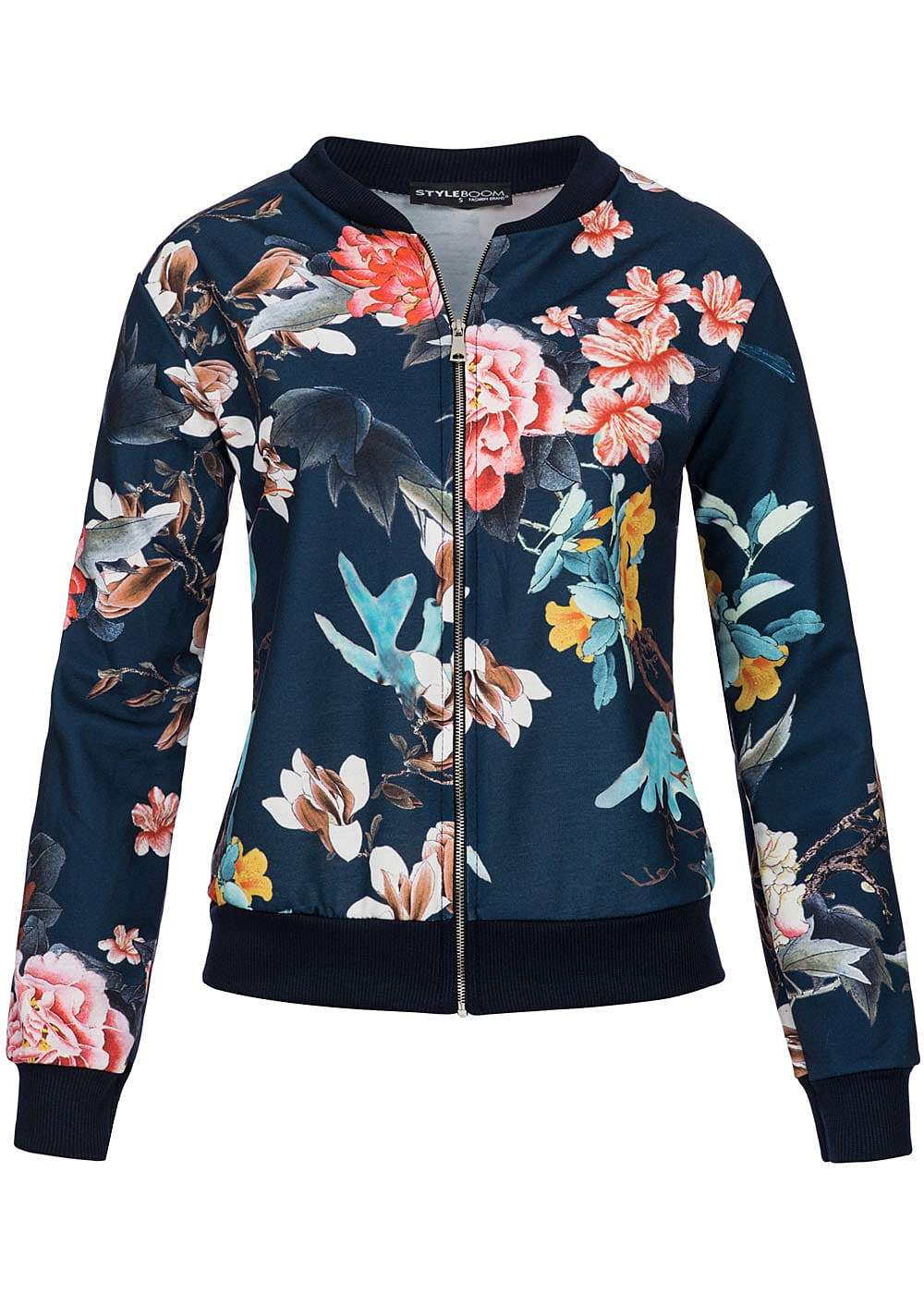 styleboom fashion damen bomber jacke blumen kolibri print zipper silberfarben navy 77onlineshop. Black Bedroom Furniture Sets. Home Design Ideas