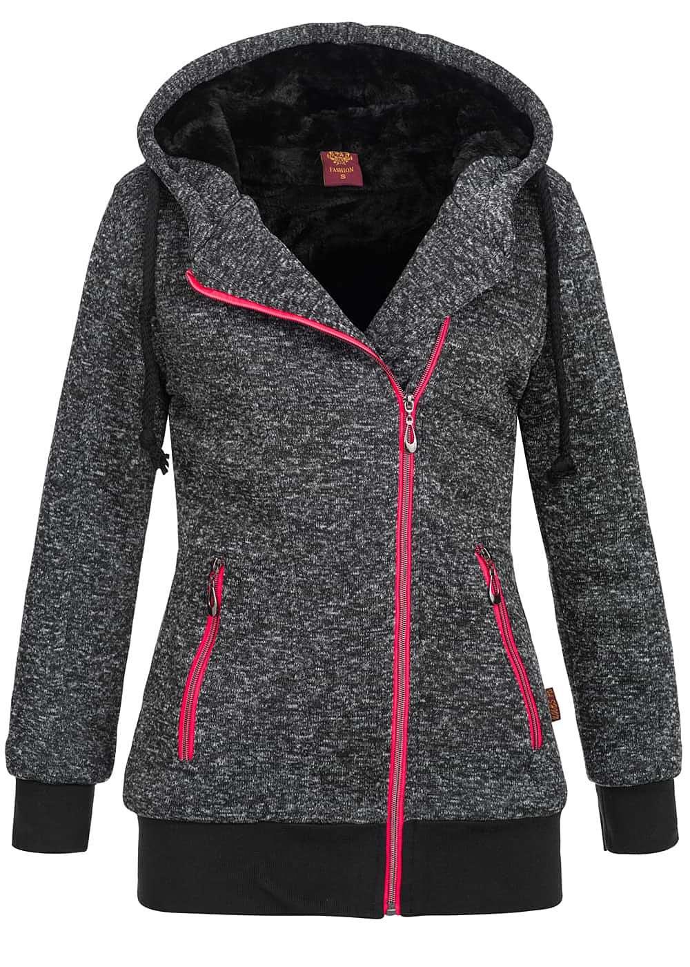 seventyseven lifestyle damen winter zip hoodie mit kapuze teddyfutter innen schwarz 77onlineshop. Black Bedroom Furniture Sets. Home Design Ideas