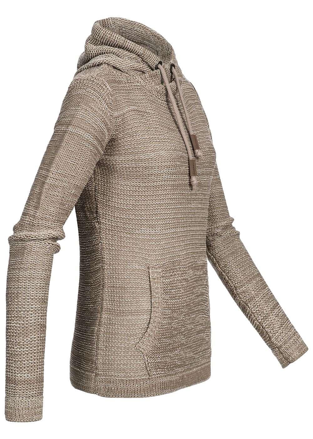 seventyseven lifestyle damen grobstrick hoodie kapuze k ngurutasche beige weiss 77onlineshop. Black Bedroom Furniture Sets. Home Design Ideas