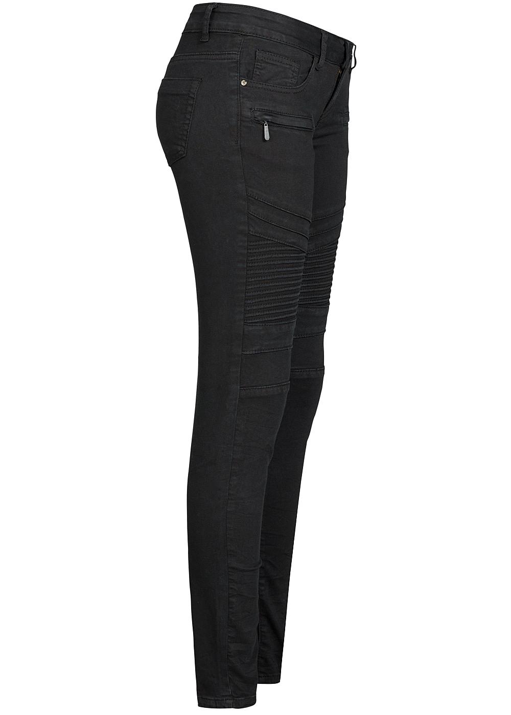 seventyseven lifestyle damen biker jeans hose 5 pockets 2 deko zipper schwarz 77onlineshop. Black Bedroom Furniture Sets. Home Design Ideas