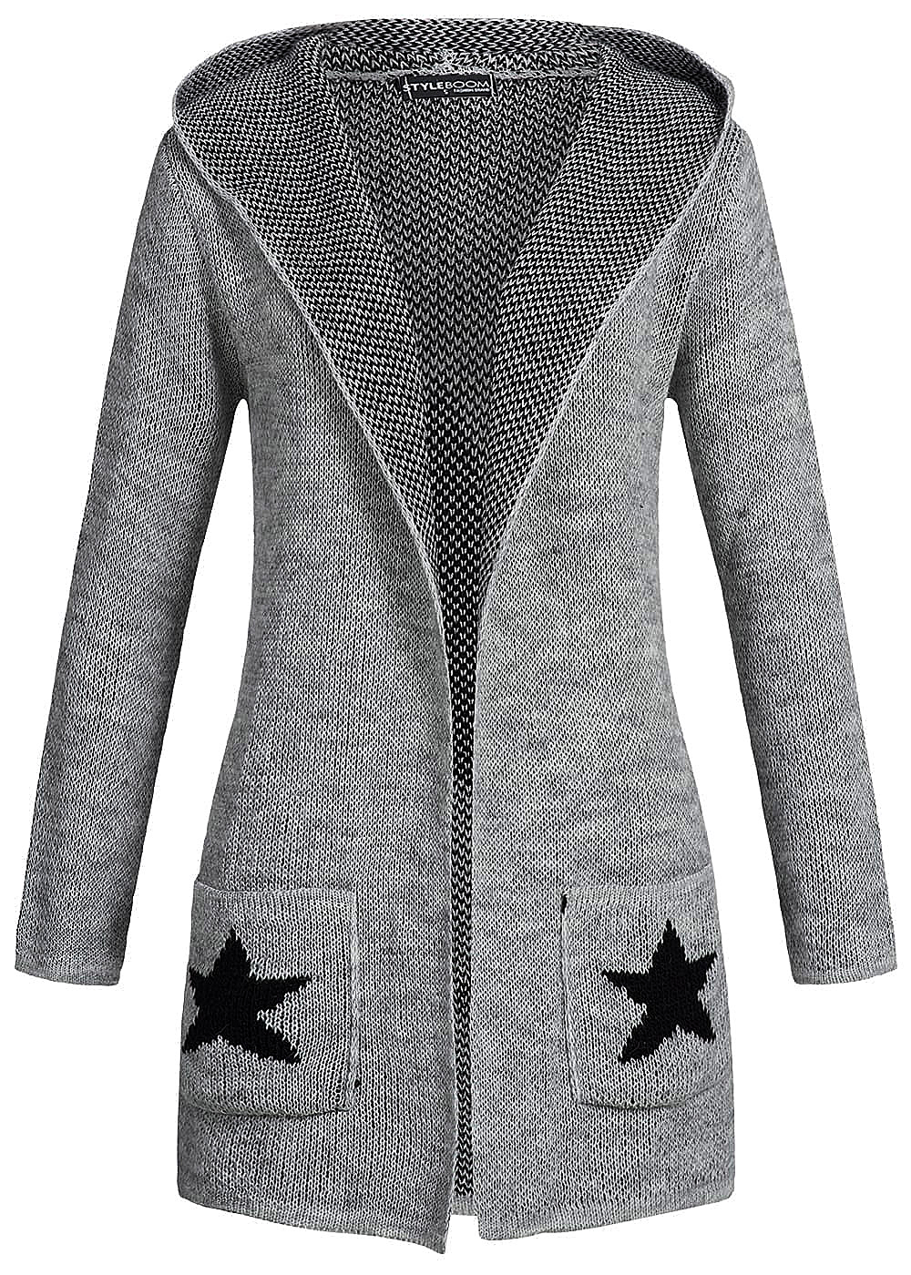 styleboom fashion cardigan mit kapuze sterne 2 taschen i love peace. Black Bedroom Furniture Sets. Home Design Ideas