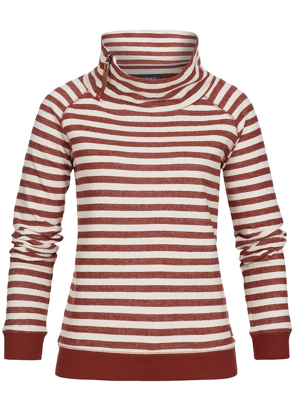 ONLY Damen Sweater gestreift Zipper am Stehkragen rot cloud dancer weiss - Art.-Nr.: 16127529