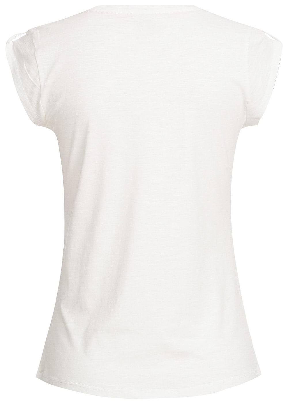 Hailys damen t shirt kurzarm herz print off weiss for T shirt printing one off