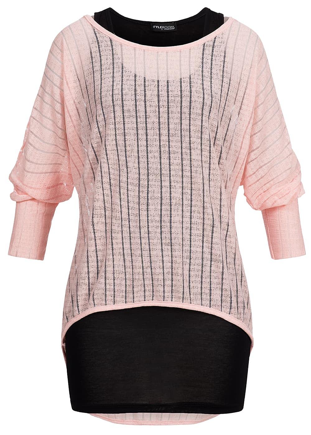 Styleboom Fashion Damen 2in1 Fledermaus Shirt leicht transp gestreift rosa  schwarz
