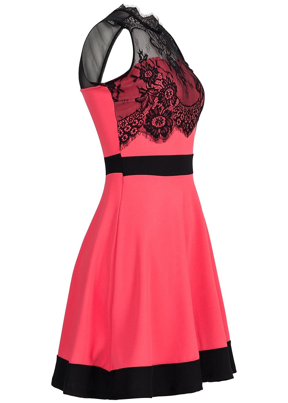 styleboom fashion damen mini kleid spitze r ckenausschnitt coral pink schwarz 77onlineshop. Black Bedroom Furniture Sets. Home Design Ideas