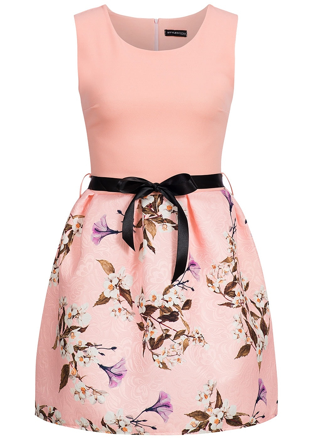 styleboom fashion damen mini kleid blumen muster bindeband zipper hinten rosa 77onlineshop. Black Bedroom Furniture Sets. Home Design Ideas