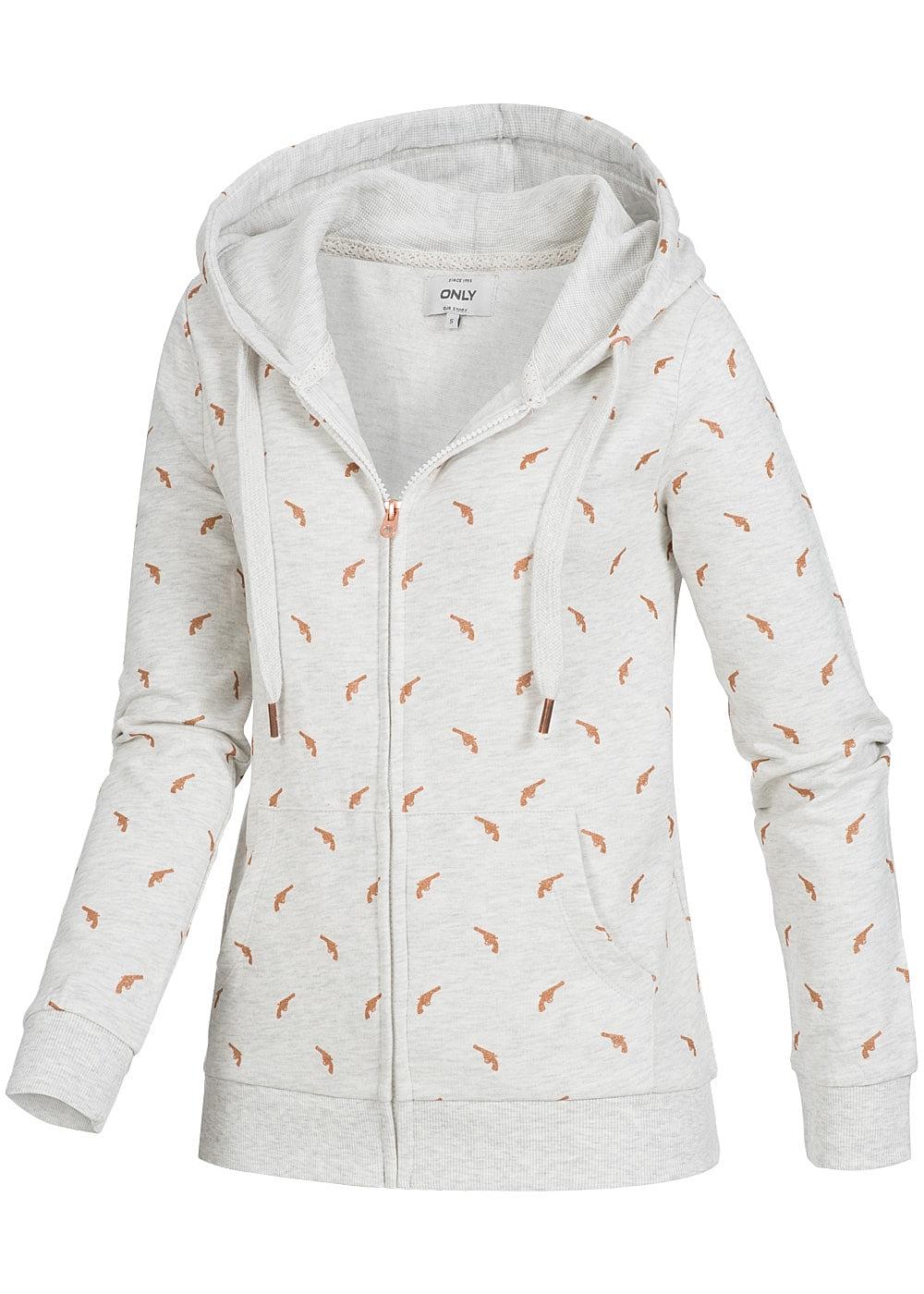 only damen zip hoodie kapuze 2 taschen pistolen muster oatmeal grau melange 77onlineshop. Black Bedroom Furniture Sets. Home Design Ideas