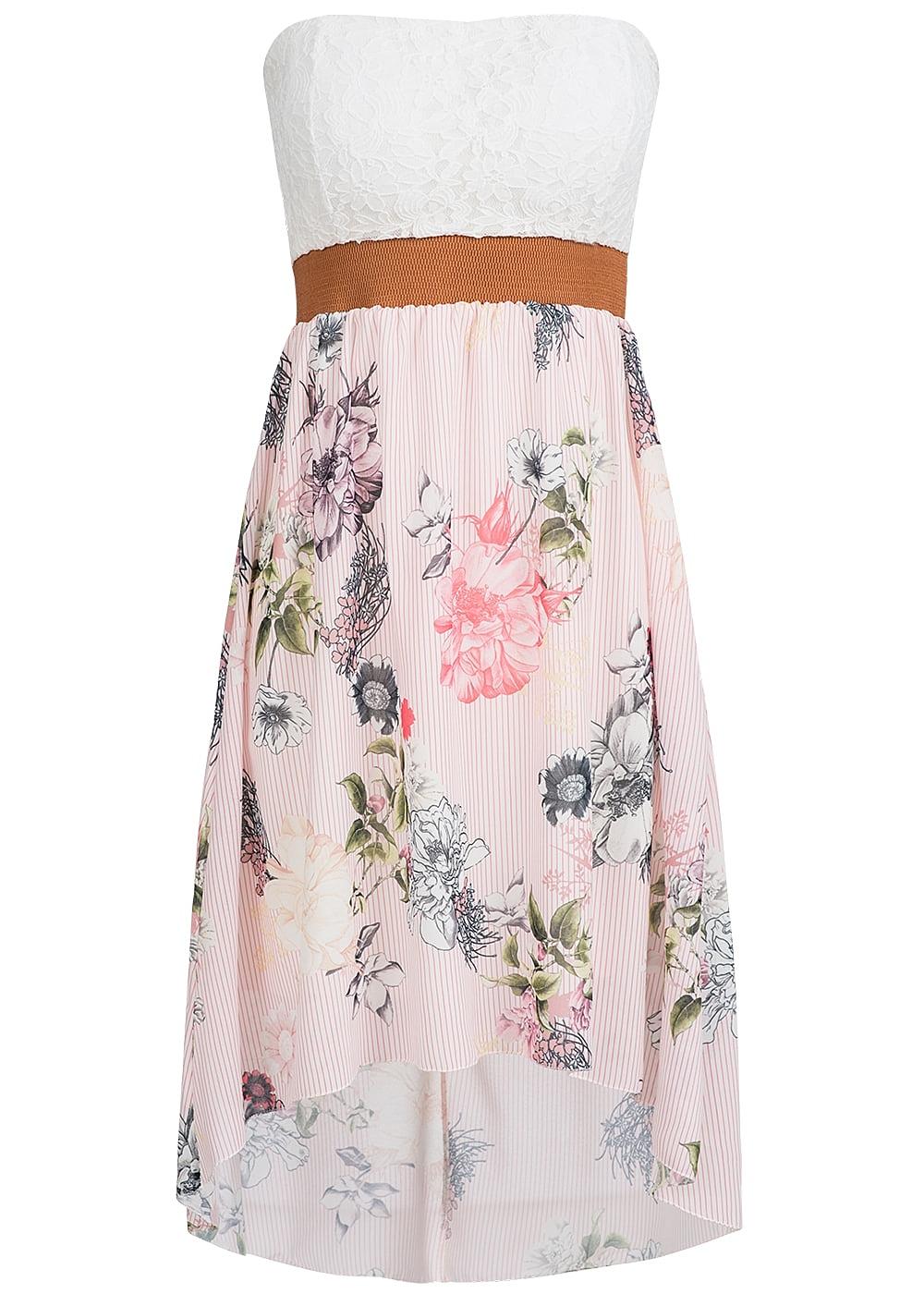 styleboom fashion damen mini bandeau kleid blumen muster spitze brustpads rosa weiss br. Black Bedroom Furniture Sets. Home Design Ideas