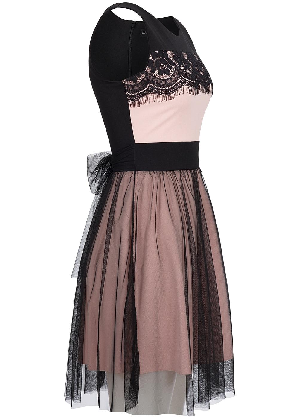 styleboom fashion damen mini kleid spitze zipper hinten t ll rosa schwarz 77onlineshop. Black Bedroom Furniture Sets. Home Design Ideas