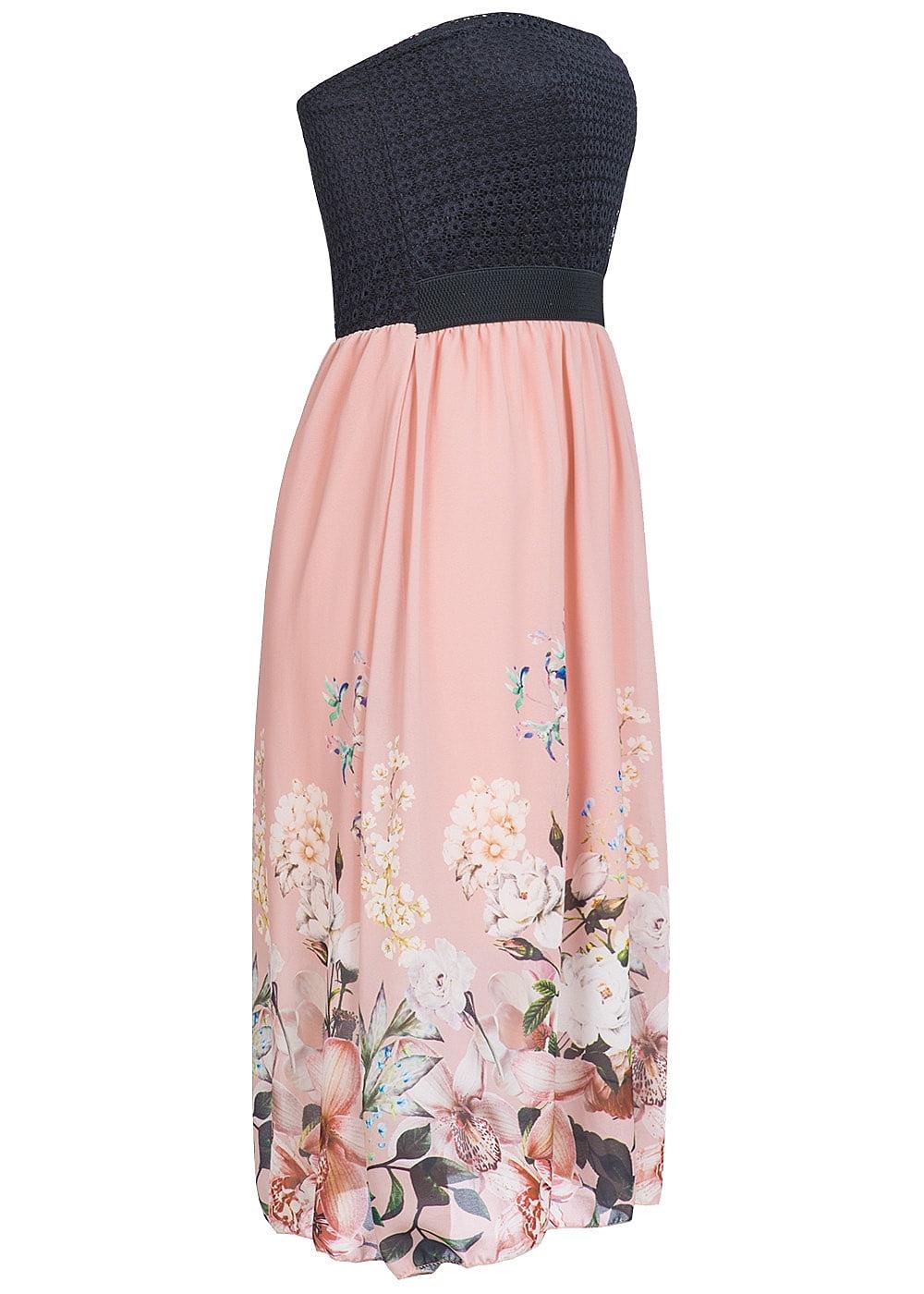 styleboom fashion damen midi bandeau kleid blumen muster brustpads spitze schwarz rosa. Black Bedroom Furniture Sets. Home Design Ideas