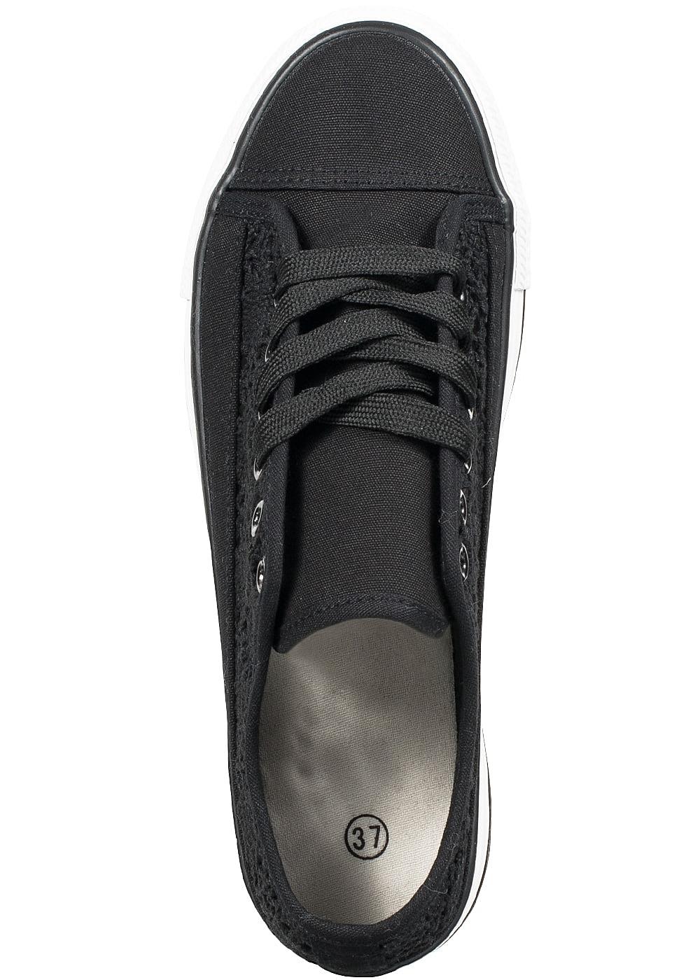 seventyseven lifestyle schuh damen sneaker zum binden h keleinsatz schwarz 77onlineshop. Black Bedroom Furniture Sets. Home Design Ideas