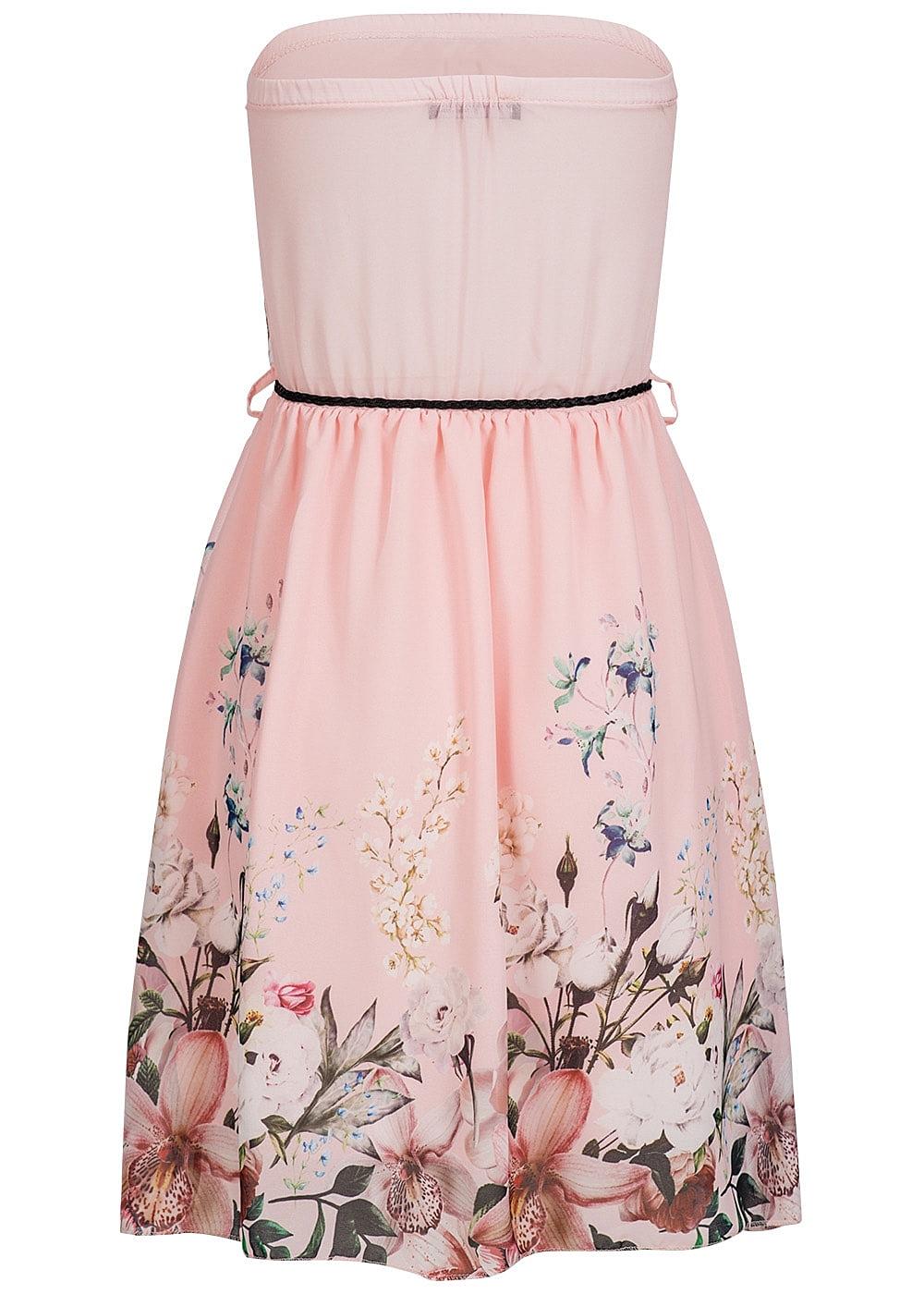 styleboom fashion damen mini bandeau kleid blumen muster kordel accessoires rosa 77onlineshop. Black Bedroom Furniture Sets. Home Design Ideas