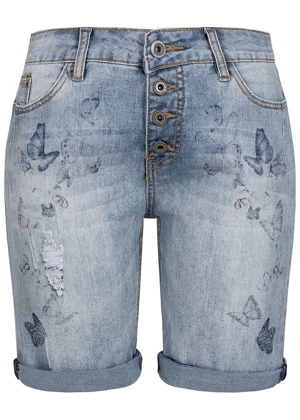 eight2nine damen bermuda jeans short 5 pockets schmetterling print by rock angel blue denim. Black Bedroom Furniture Sets. Home Design Ideas
