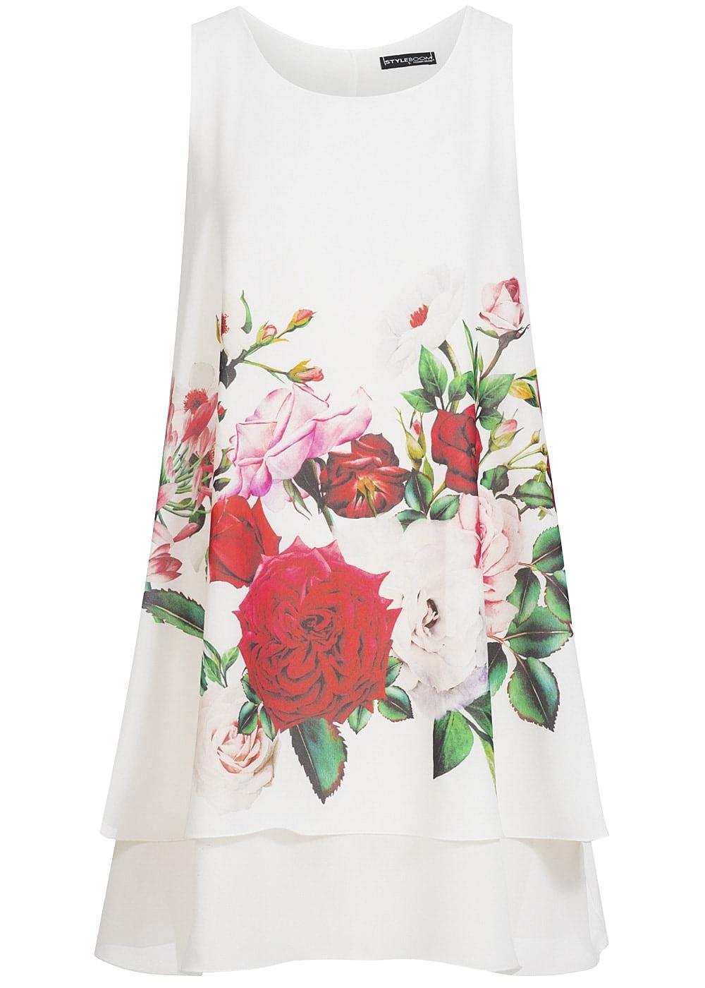 styleboom fashion damen kleid blumen print weiss rot 77onlineshop. Black Bedroom Furniture Sets. Home Design Ideas