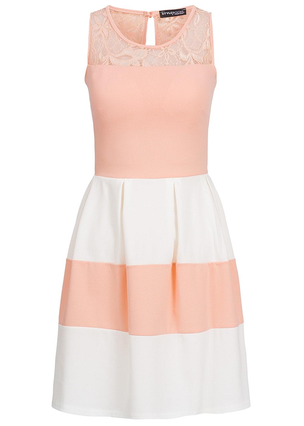 Styleboom Fashion Damen Kleid Spitze gestreift rosa weiss ...