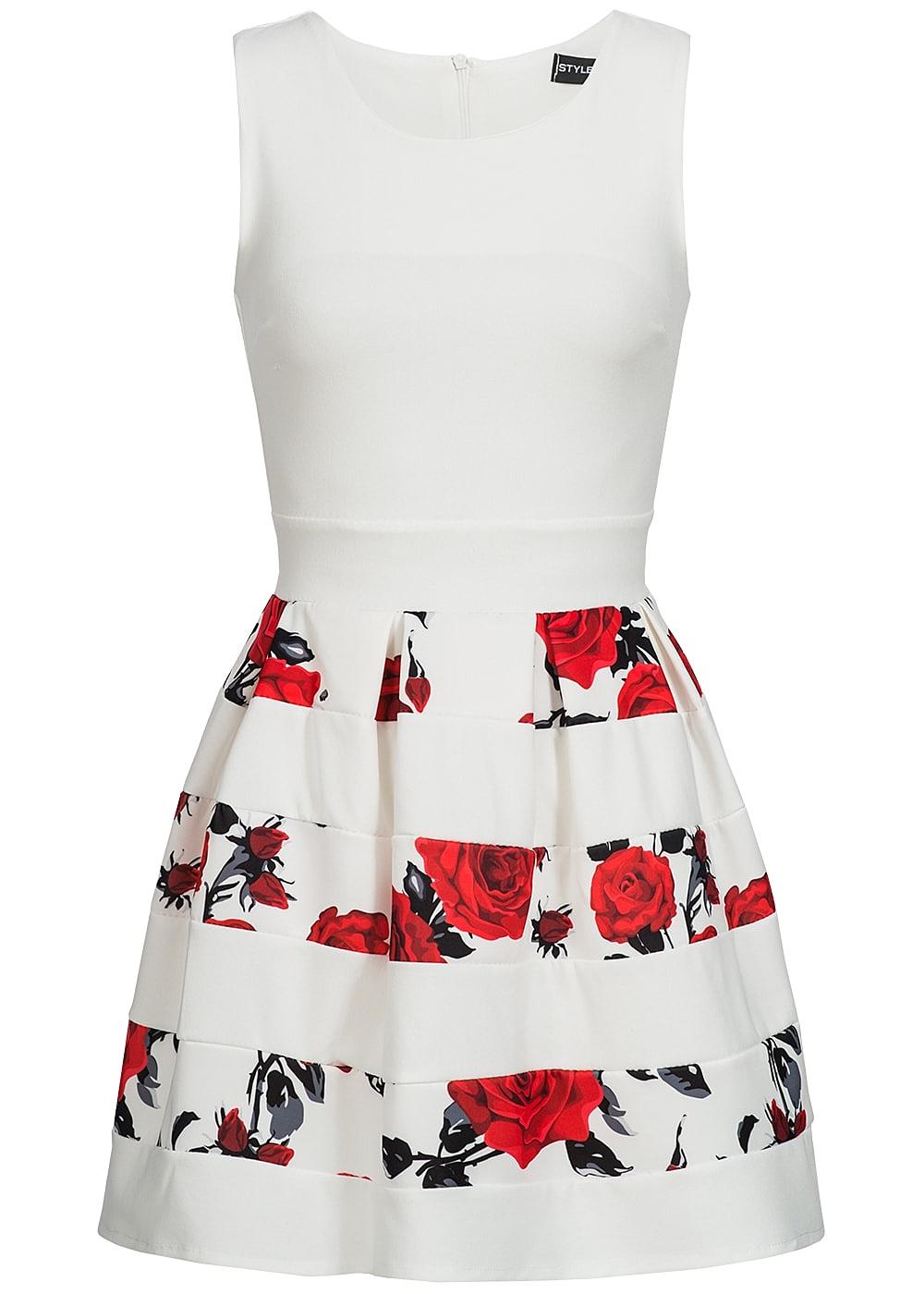 styleboom fashion damen kleid blumen muster gestreift weiss rot schwarz 77onlineshop. Black Bedroom Furniture Sets. Home Design Ideas