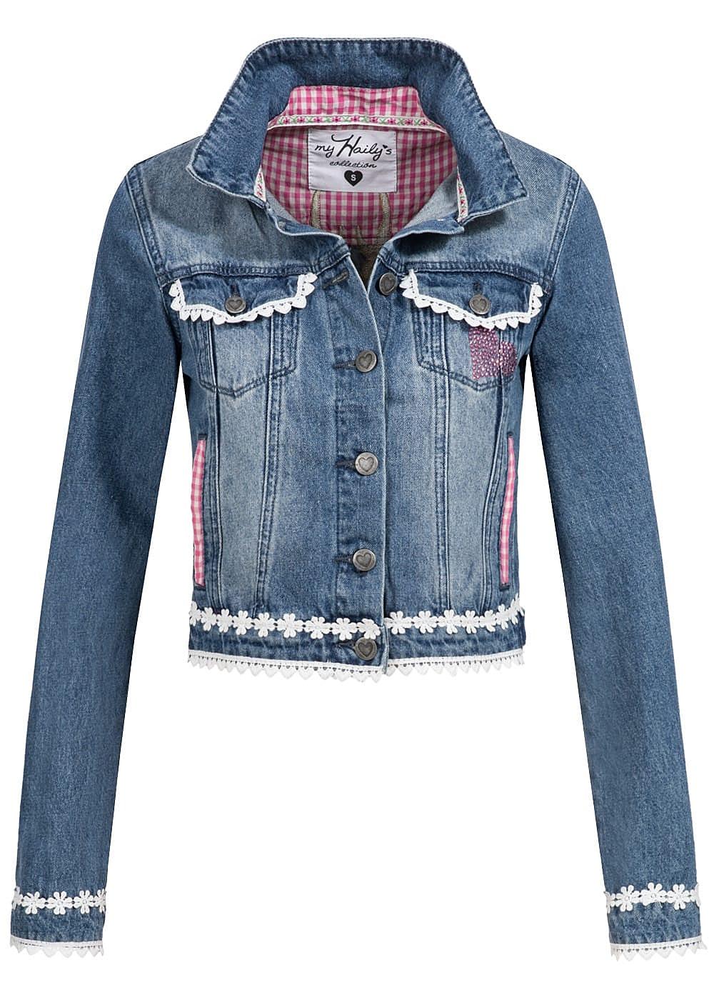 hailys damen trachten jeans jacke h keleinsatz hirschkopf. Black Bedroom Furniture Sets. Home Design Ideas