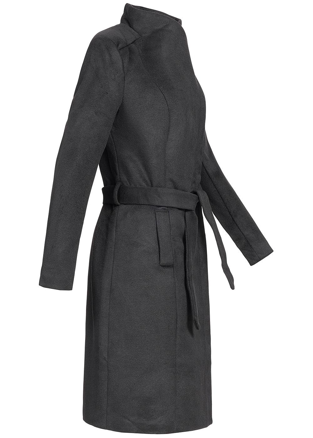 only damen mantel 2 deko taschen vorne g rtel stehkragen. Black Bedroom Furniture Sets. Home Design Ideas