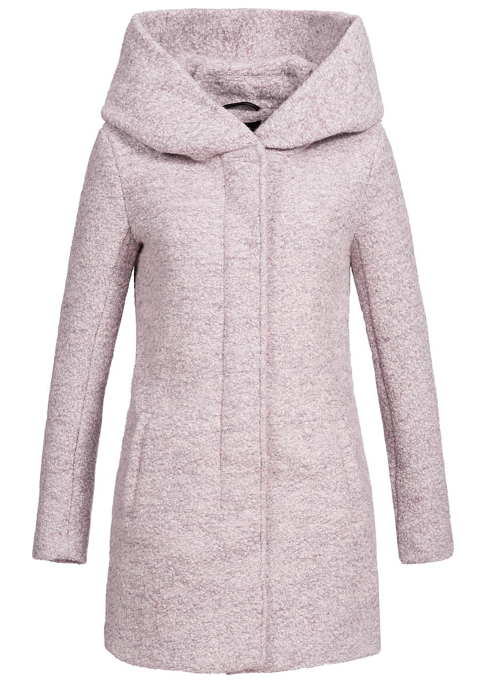 only damen mantel kapuze 2 taschen vorne warm taupe lila. Black Bedroom Furniture Sets. Home Design Ideas