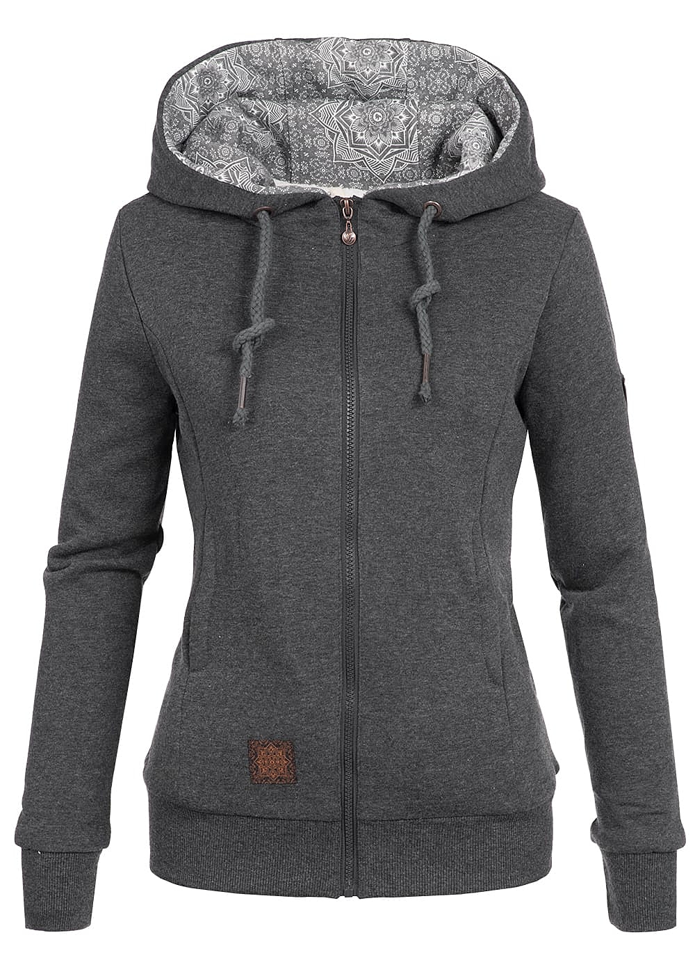 aiki damen sweat jacke zip hoodie kunstfellfutter kapuze 2. Black Bedroom Furniture Sets. Home Design Ideas