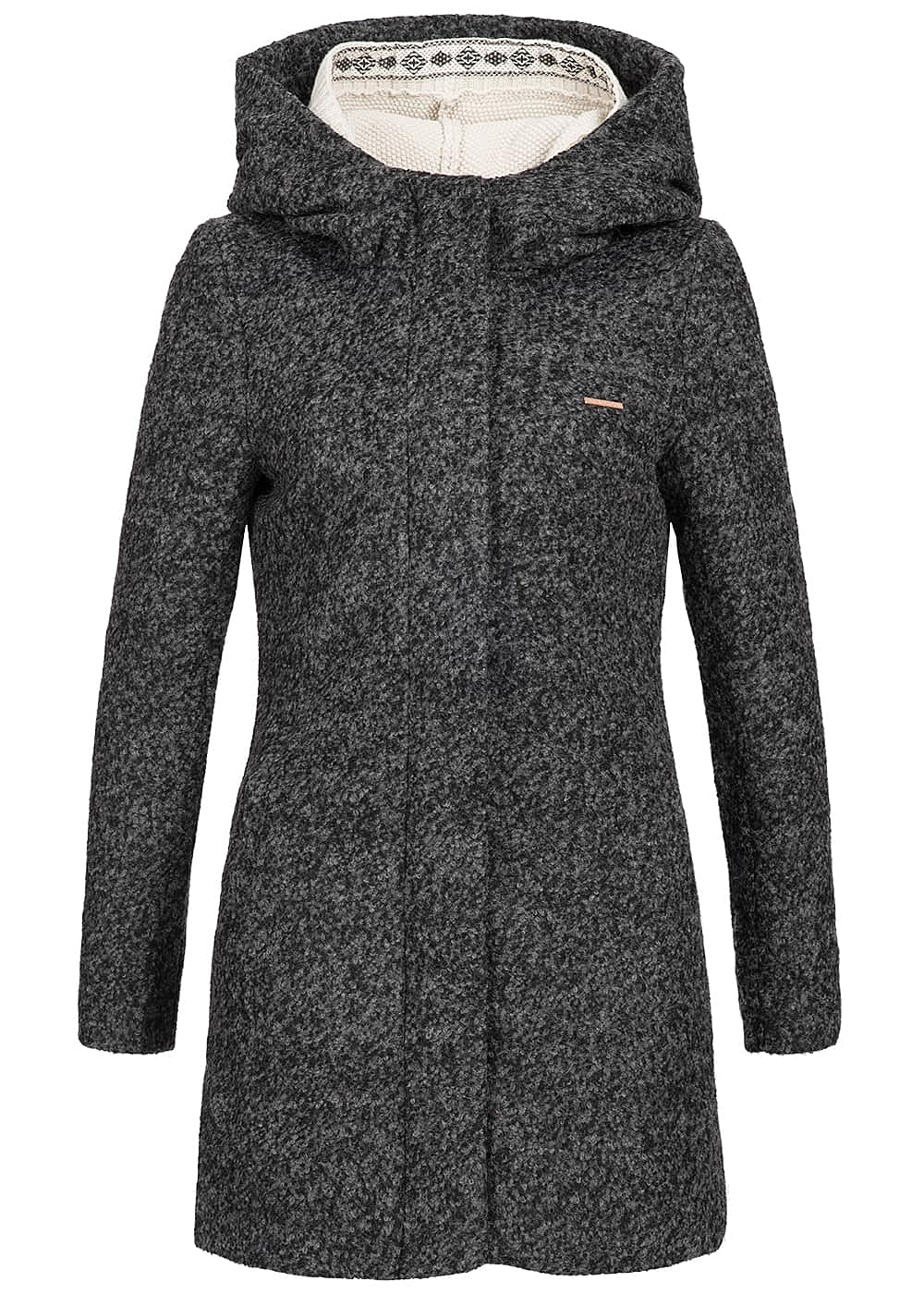 aiki damen winter mantel kapuze herausnehmbare strickweste dunkel grau 77onlineshop. Black Bedroom Furniture Sets. Home Design Ideas
