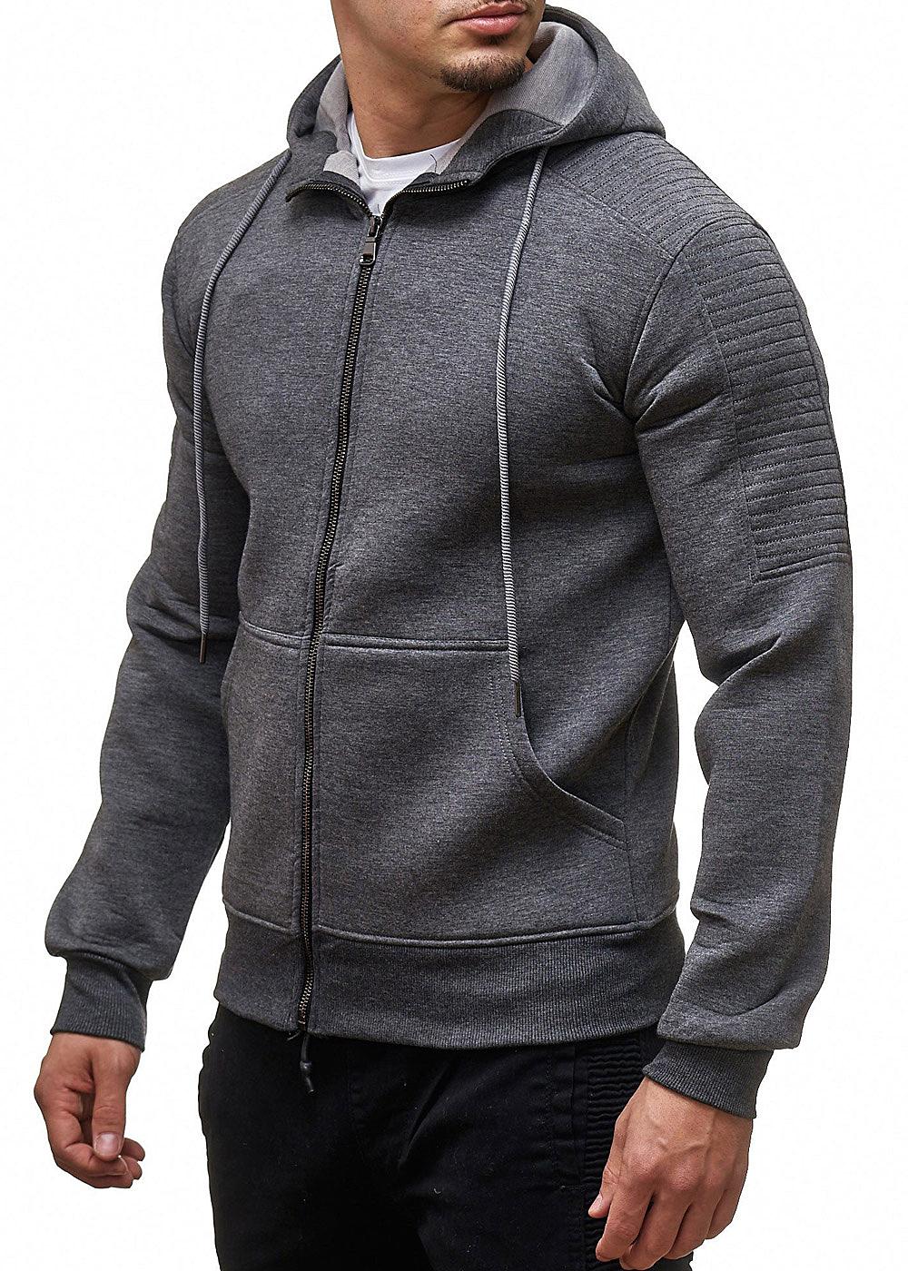 seventyseven lifestyle herren zip hoodie kapuze 2 taschen streifen arm dunkel grau 77onlineshop. Black Bedroom Furniture Sets. Home Design Ideas