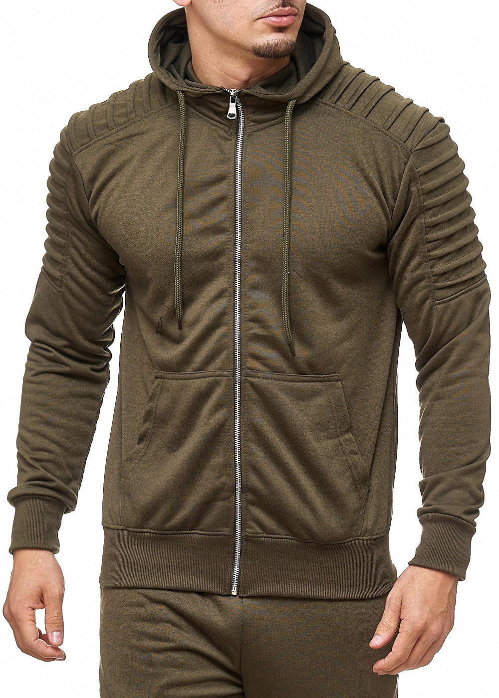 seventyseven lifestyle herren zip hoodie 2 taschen khaki 77onlineshop. Black Bedroom Furniture Sets. Home Design Ideas