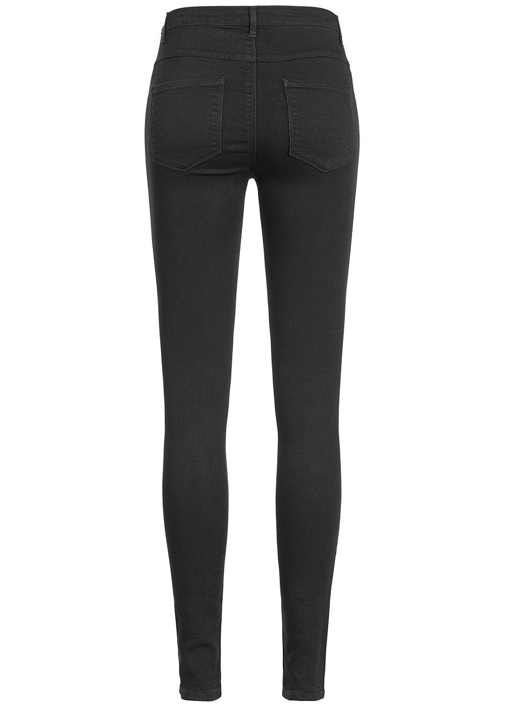 only damen skinny jeans hose high waist 5 pockets schwarz. Black Bedroom Furniture Sets. Home Design Ideas