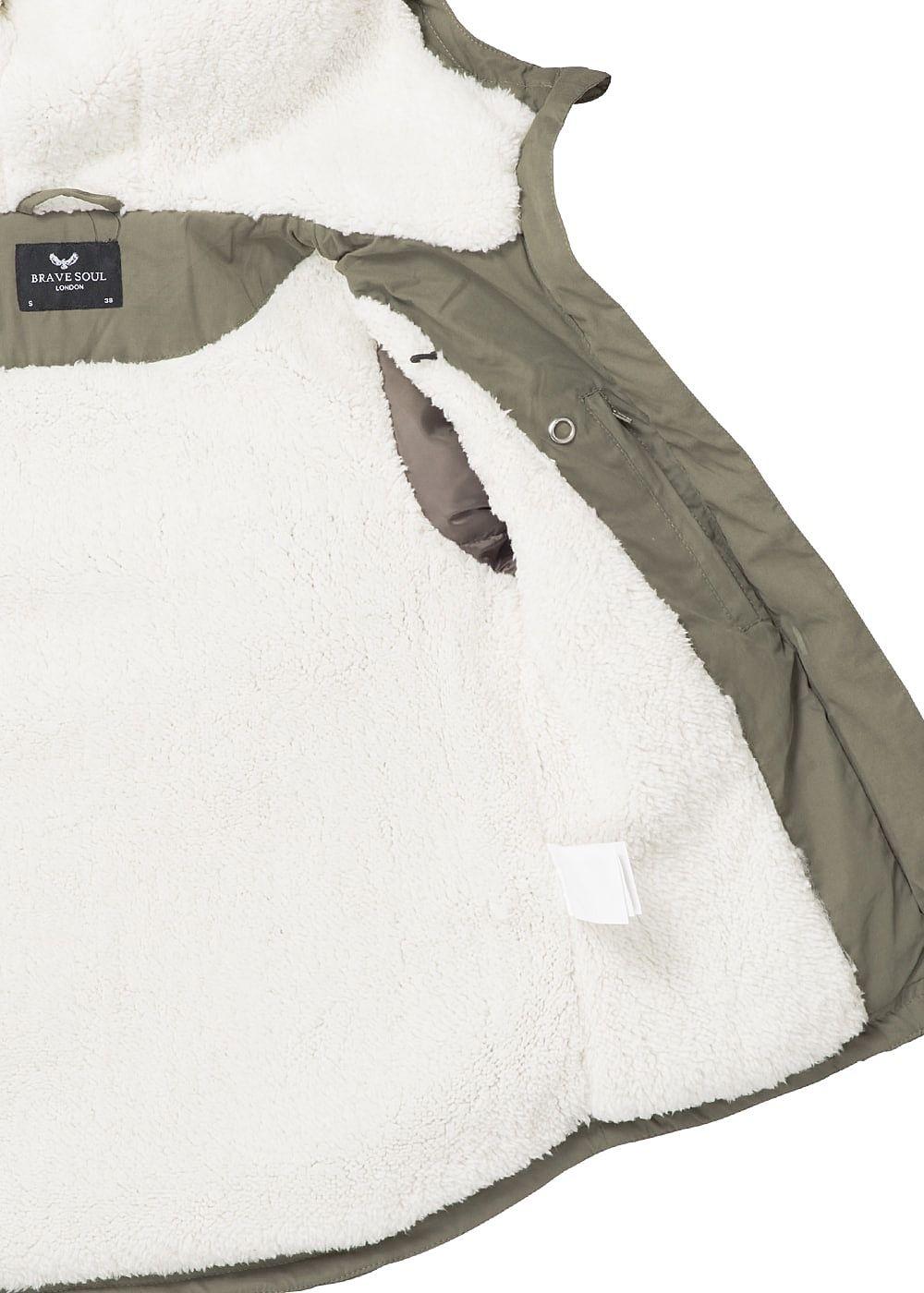 a5d5d73f75652d Seventyseven Lifestyle Damen Winter Jacke Kapuze Teddyfell 2 Taschen ...
