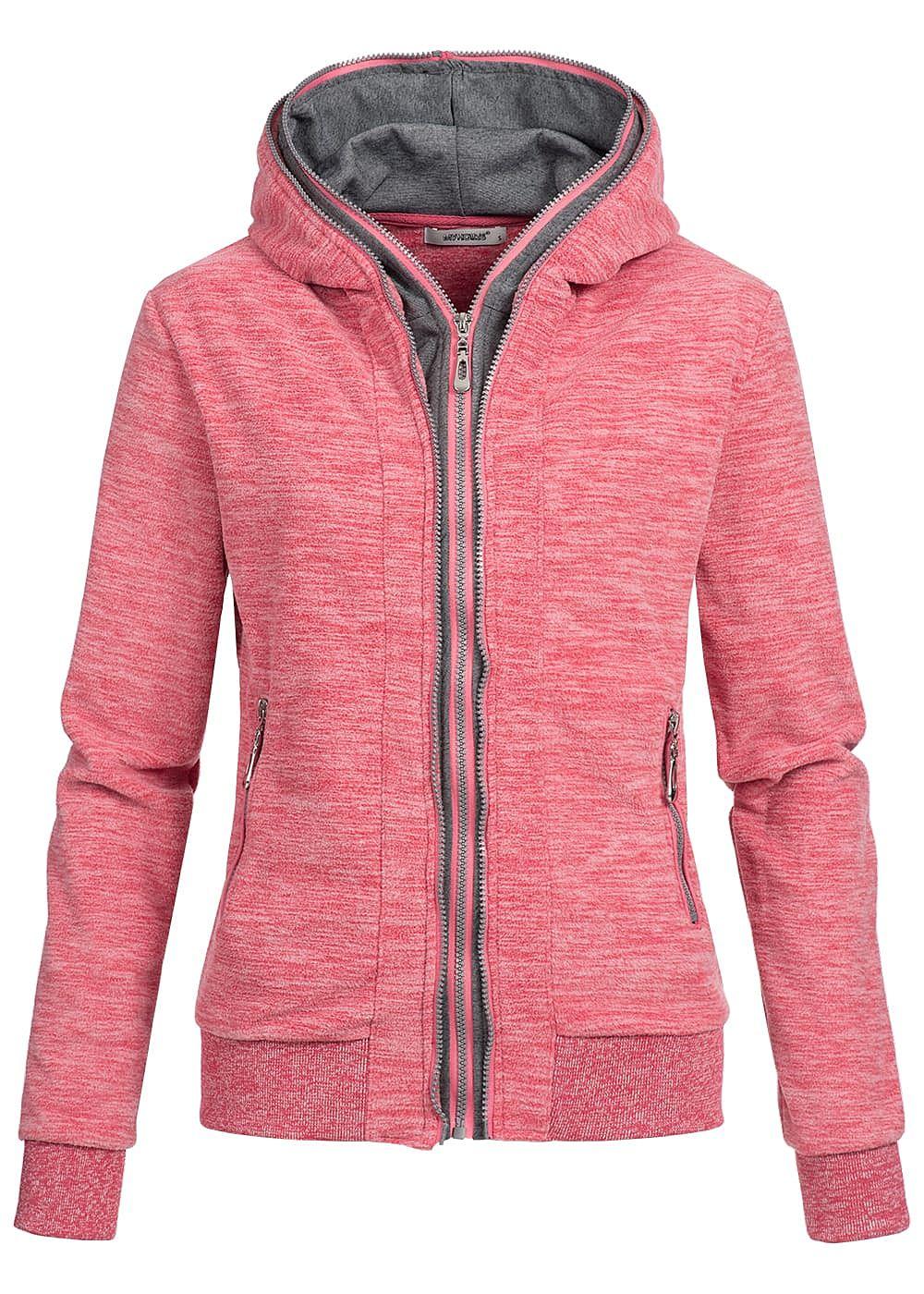 seventyseven lifestyle damen fleece zip hoodie kapuze 2. Black Bedroom Furniture Sets. Home Design Ideas