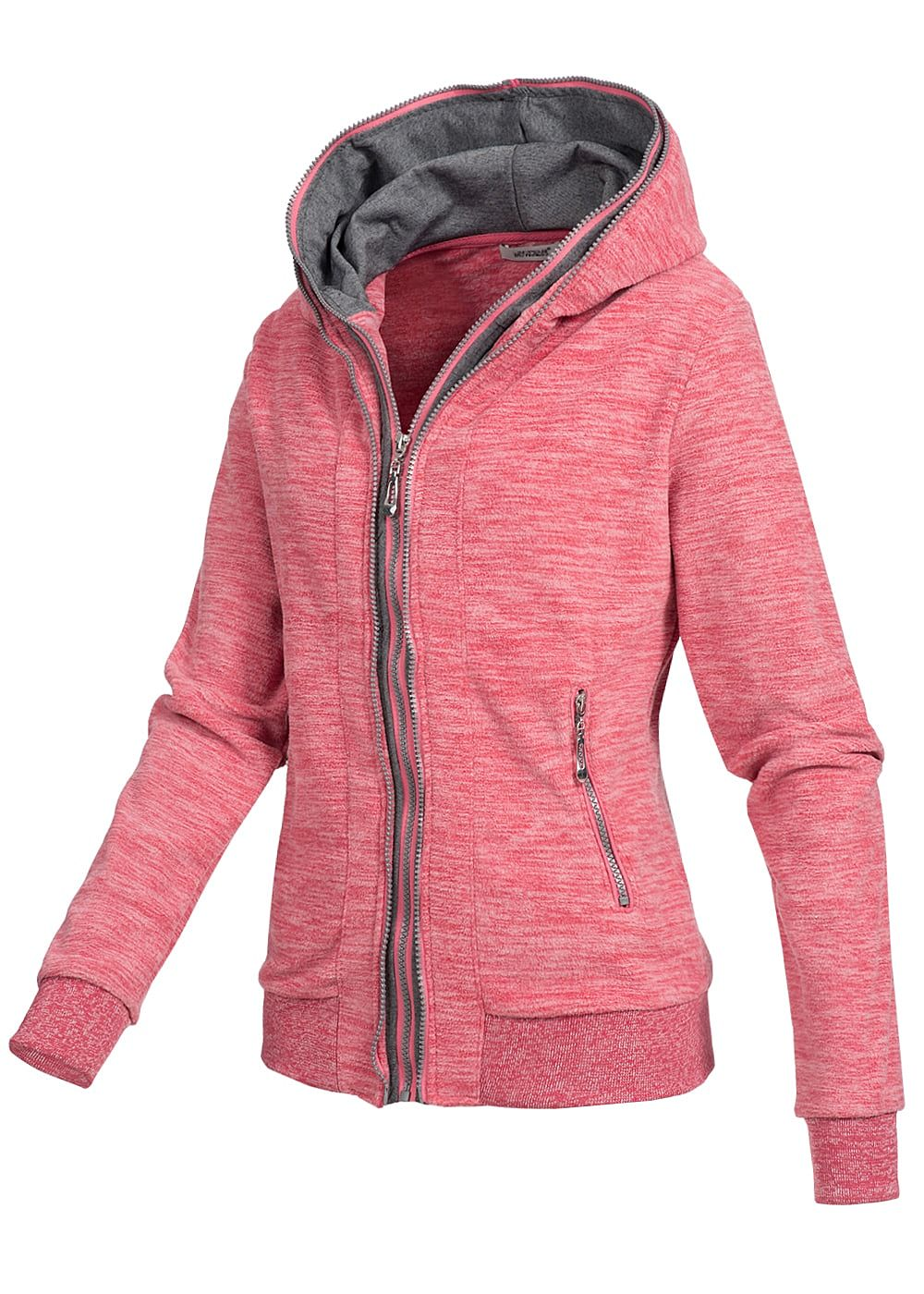 seventyseven lifestyle damen fleece zip hoodie kapuze 2 taschen pink 77onlineshop. Black Bedroom Furniture Sets. Home Design Ideas