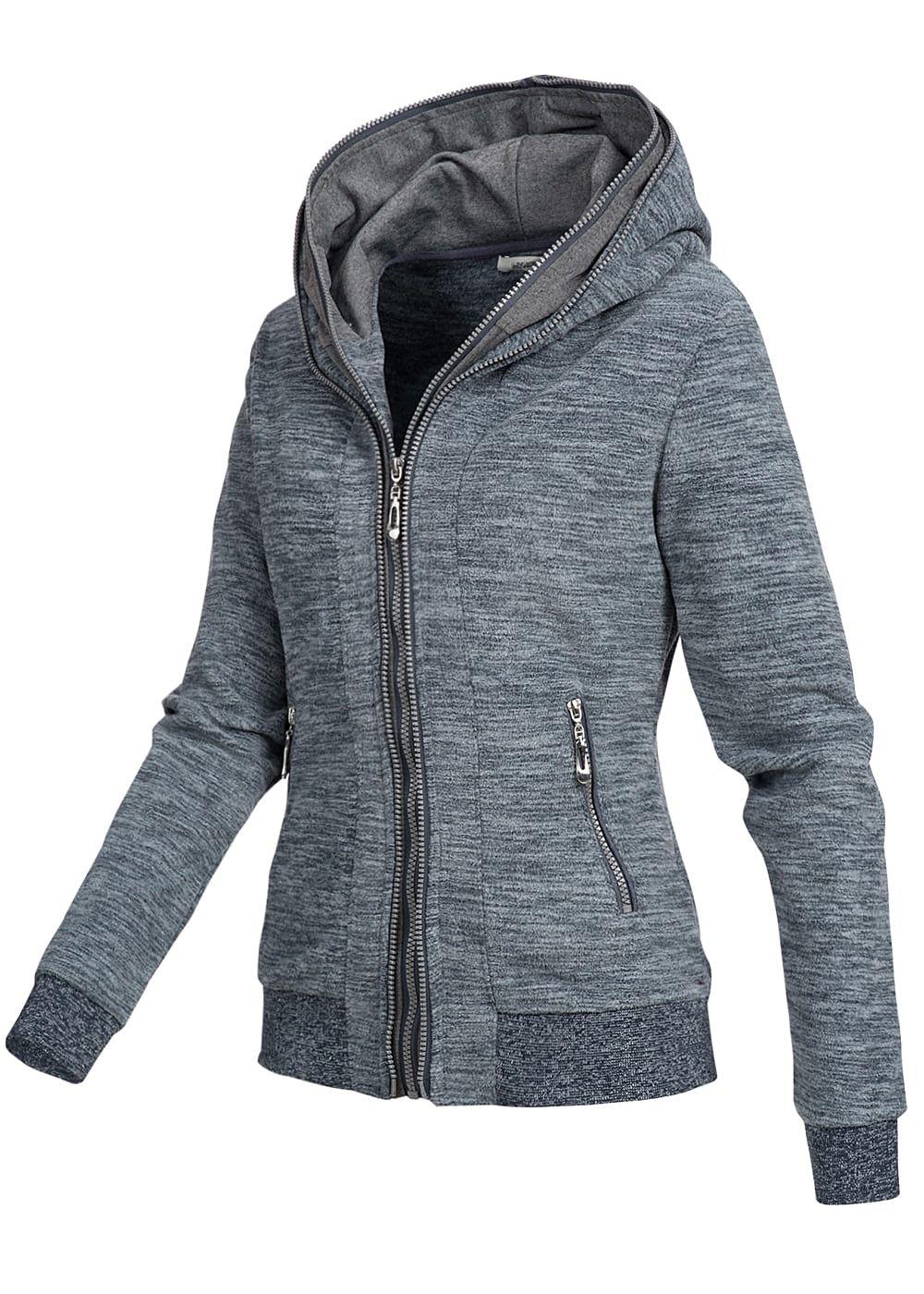 seventyseven lifestyle damen fleece zip hoodie kapuze 2 taschen blau melange 77onlineshop. Black Bedroom Furniture Sets. Home Design Ideas