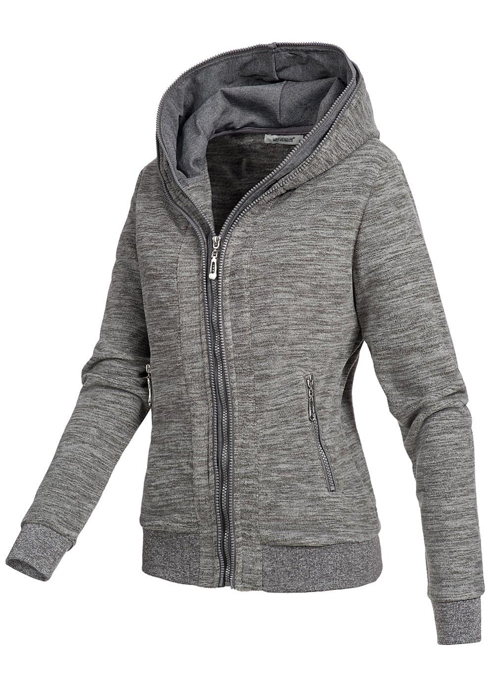 seventyseven lifestyle damen fleece zip hoodie kapuze 2 taschen grau melange 77onlineshop. Black Bedroom Furniture Sets. Home Design Ideas