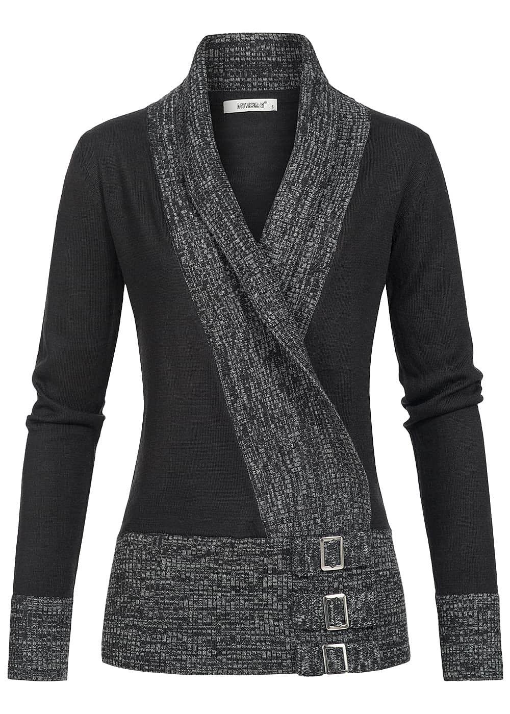 seventyseven lifestyle damen pullover wasserfallausschnitt deko schnallen schwarz grau. Black Bedroom Furniture Sets. Home Design Ideas