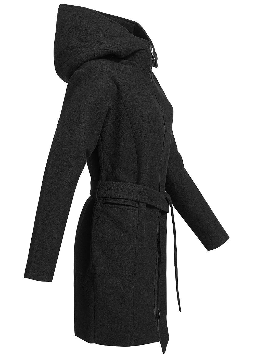 only damen bergangs mantel grosse kapuze 2 taschen bindeg rtel schwarz 77onlineshop. Black Bedroom Furniture Sets. Home Design Ideas