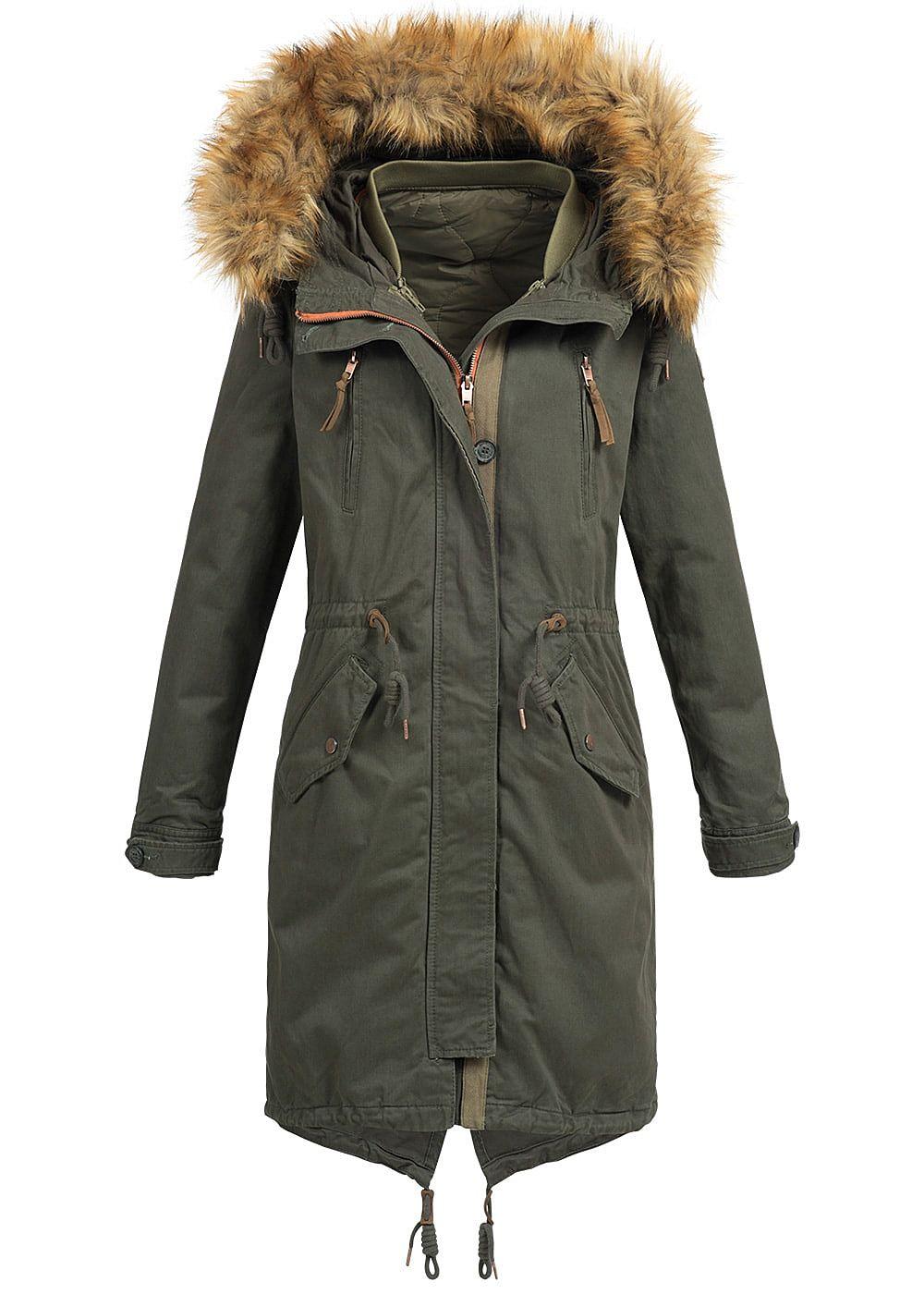 only damen winter mantel kapuze abnehmb kunstfell tunnelzug peat gr n 77onlineshop. Black Bedroom Furniture Sets. Home Design Ideas