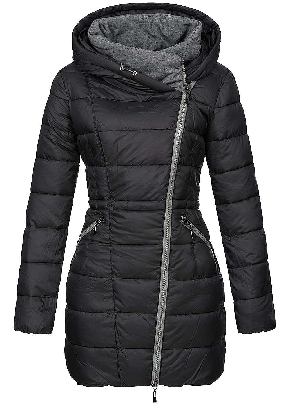 aiki damen winter mantel kapuze 2 zip taschen schwarz grau 77onlineshop. Black Bedroom Furniture Sets. Home Design Ideas