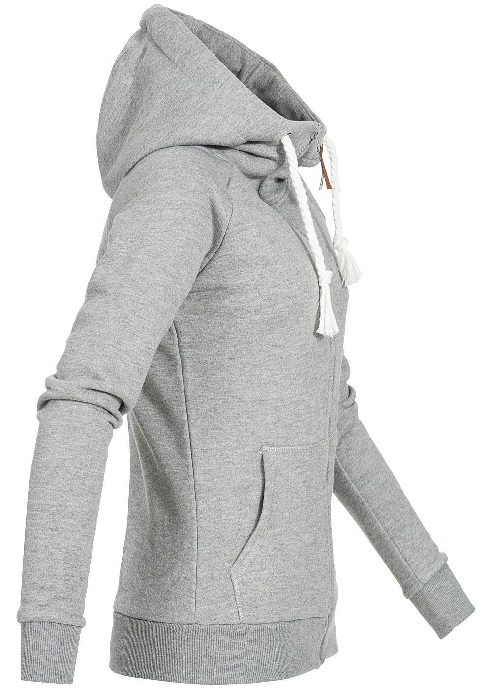 seventyseven lifestyle damen zip hoodie kapuze kordelzug 2 taschen hell grau melange 77onlineshop. Black Bedroom Furniture Sets. Home Design Ideas