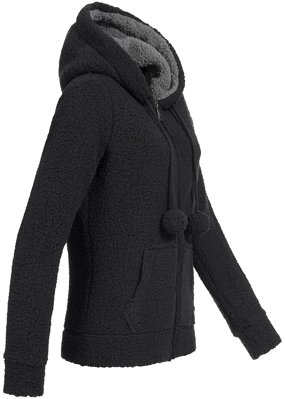 eight2nine damen fleece zip hoodie kapuze pompons 2. Black Bedroom Furniture Sets. Home Design Ideas