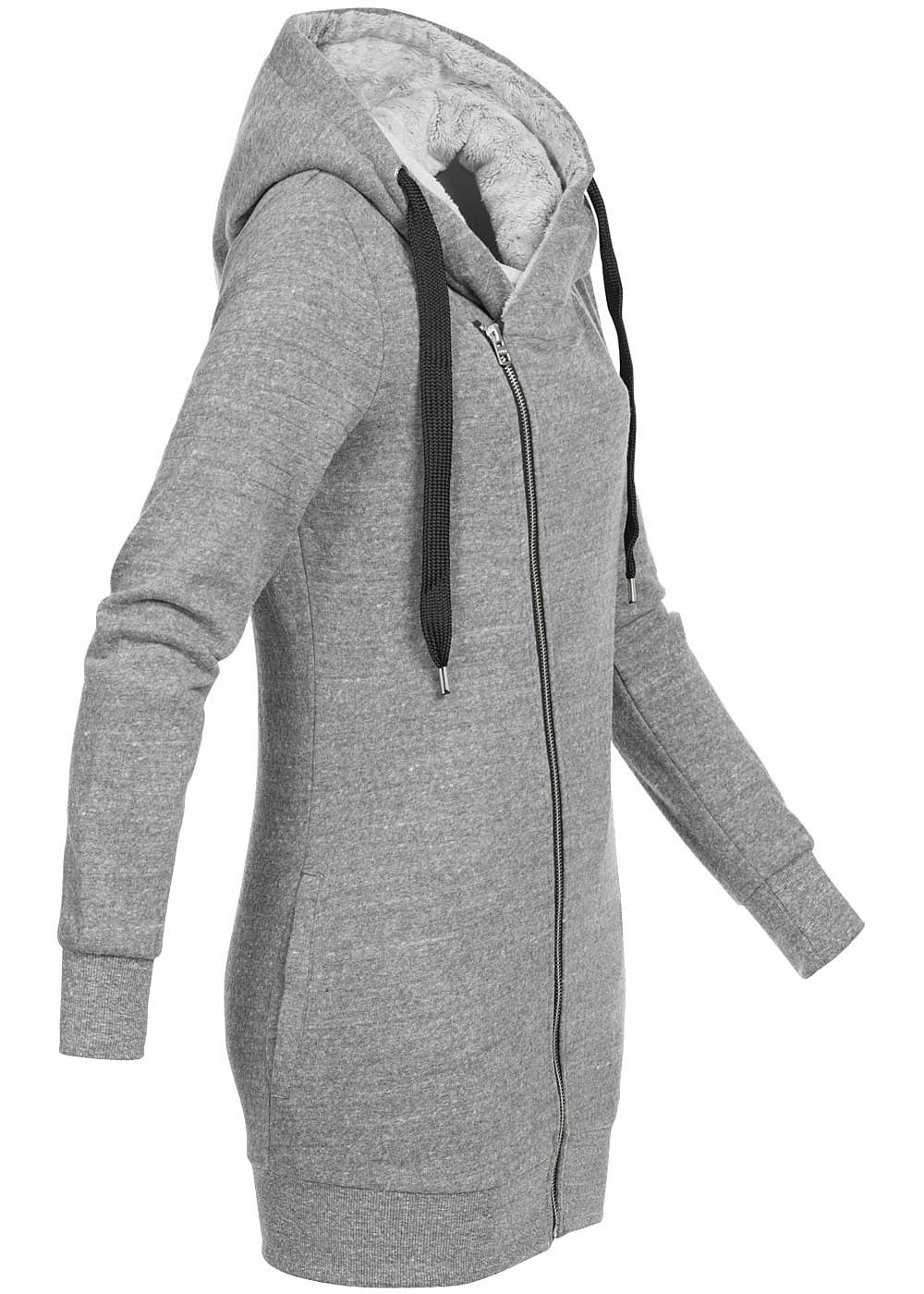 only damen zip hoodie teddyfell in kapuze 2 taschen dunkel. Black Bedroom Furniture Sets. Home Design Ideas
