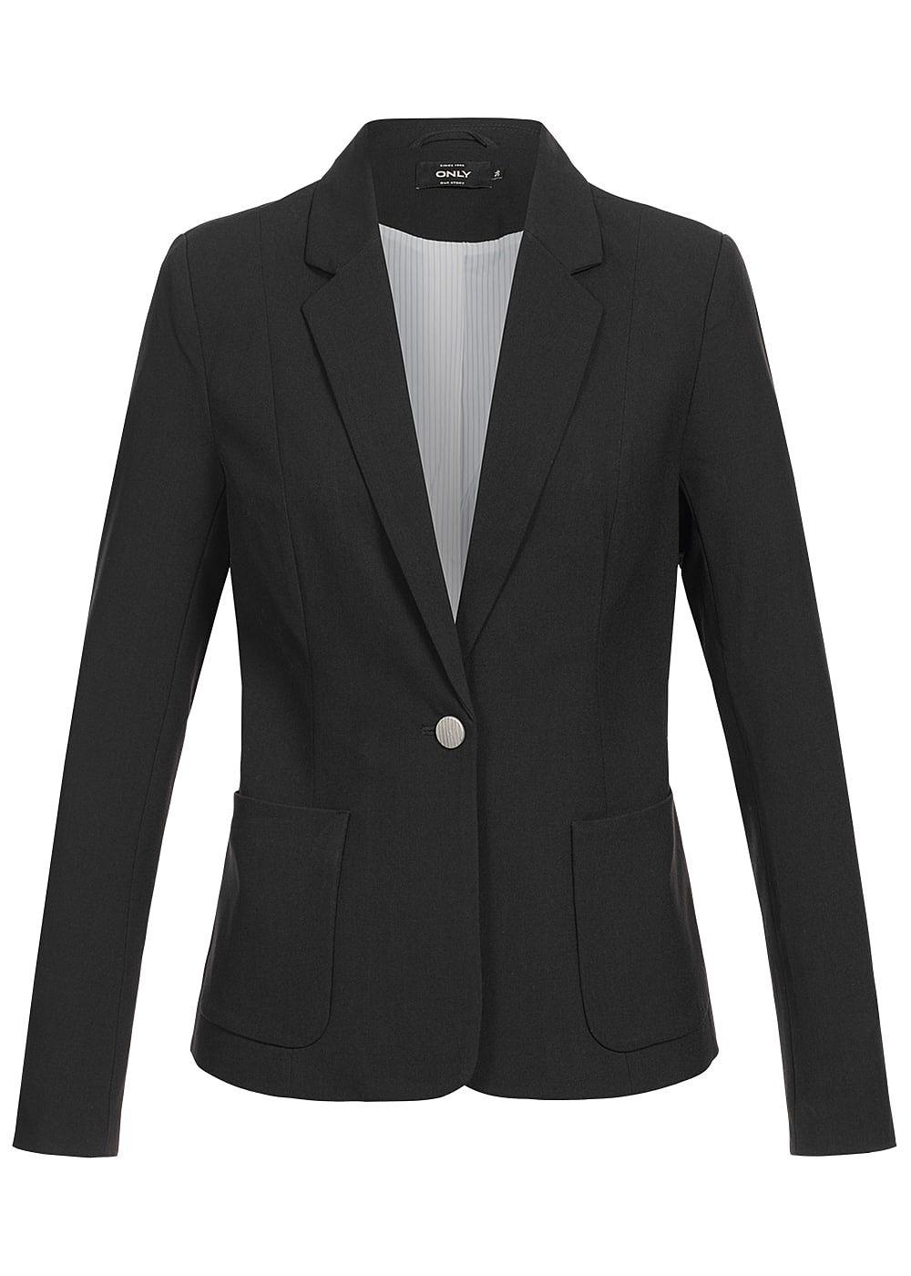 only damen blazer 2 taschen 1 knopf schulterpolster schwarz 77onlineshop. Black Bedroom Furniture Sets. Home Design Ideas