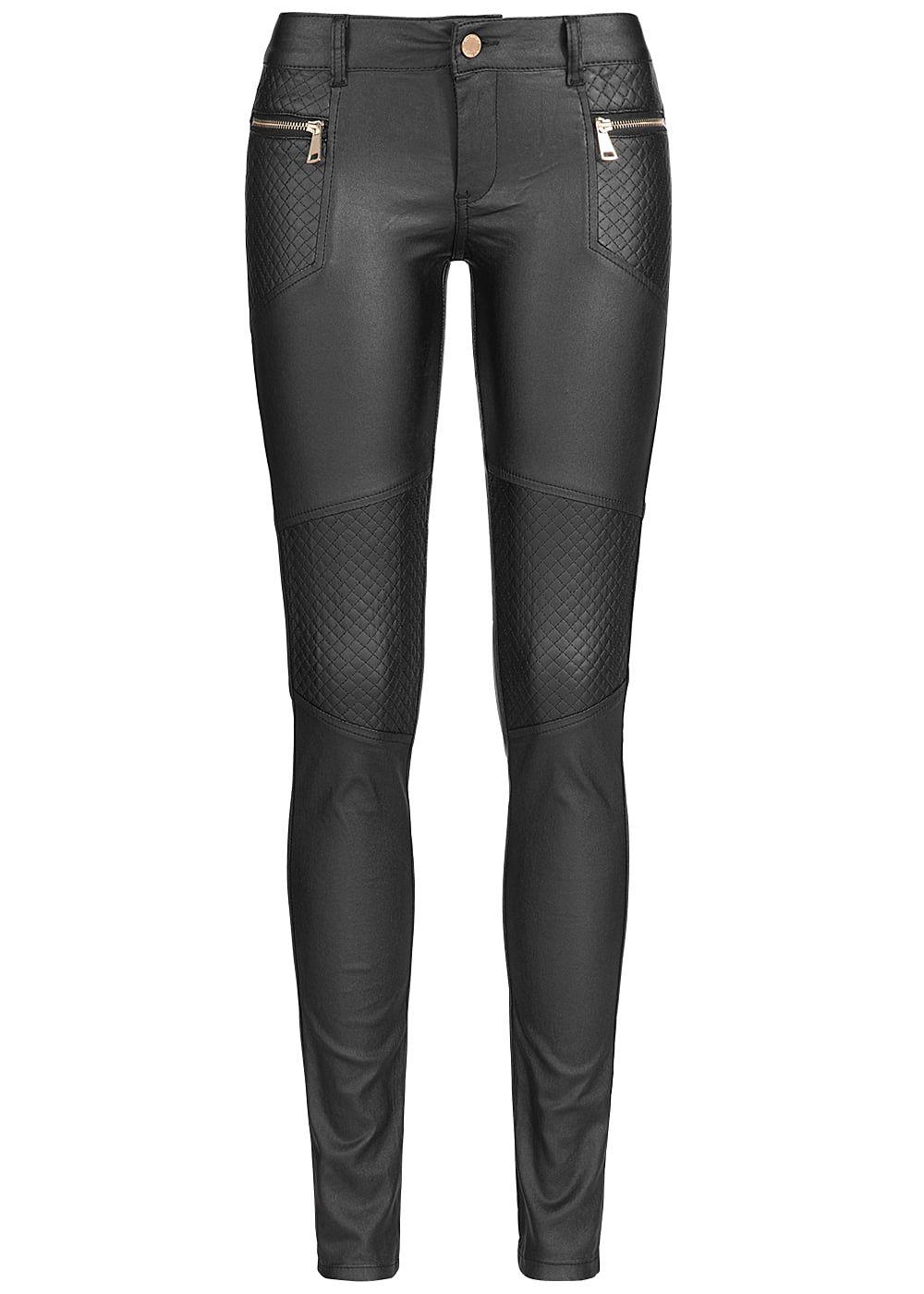 seventyseven lifestyle damen biker jeans hose kunstleder glanz optik schwarz 77onlineshop. Black Bedroom Furniture Sets. Home Design Ideas