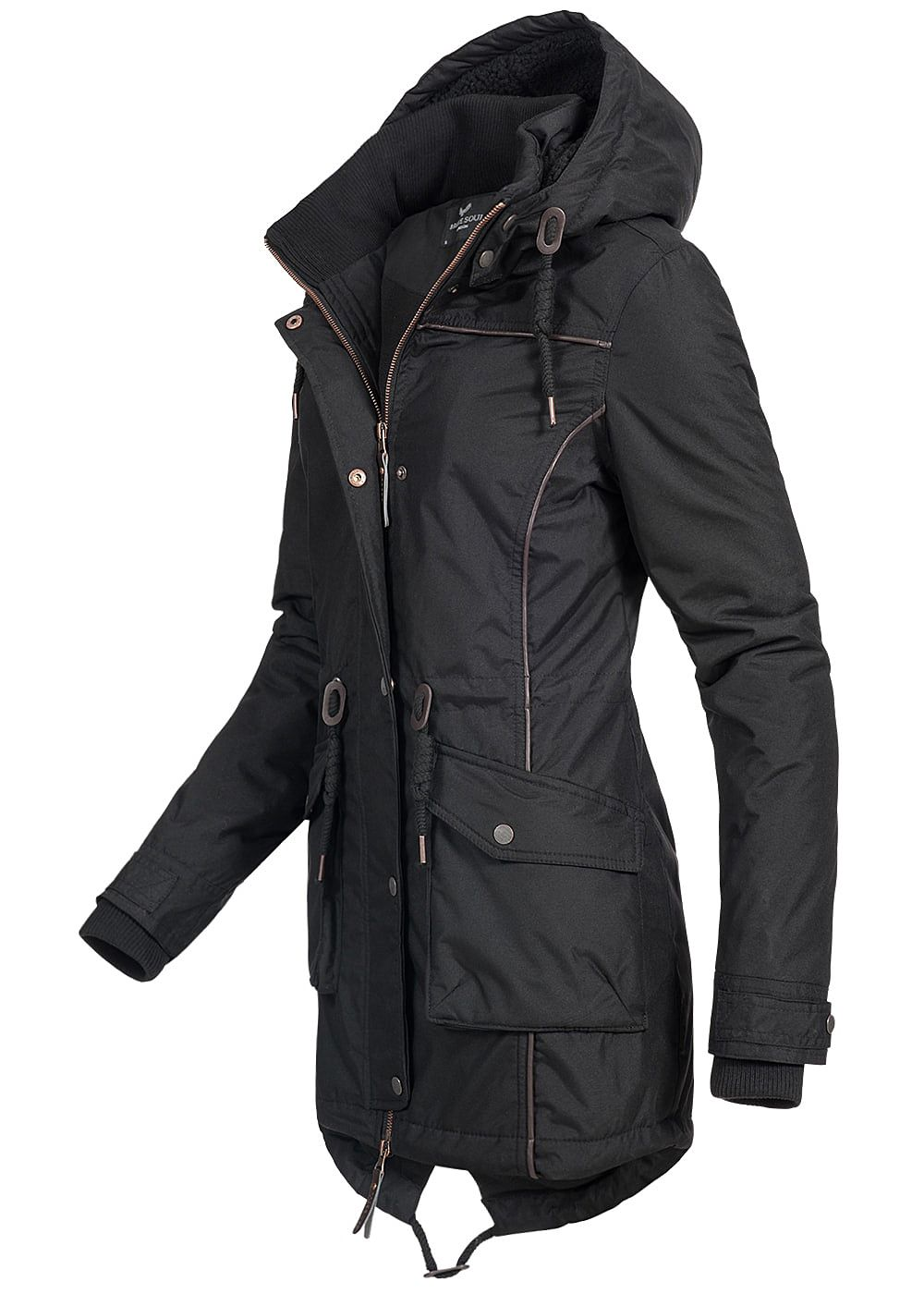 seventyseven lifestyle damen winter parka kapuze gef ttert 2 taschen schwarz 77onlineshop. Black Bedroom Furniture Sets. Home Design Ideas