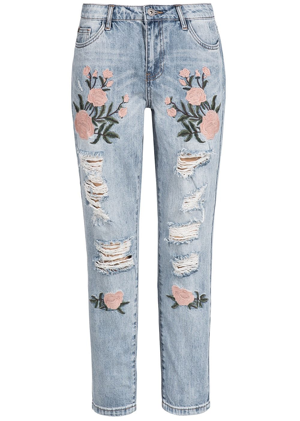 only damen jeans hose heavy destroy boyfriend fit blumen patch hell blau denim rosa 77onlineshop. Black Bedroom Furniture Sets. Home Design Ideas