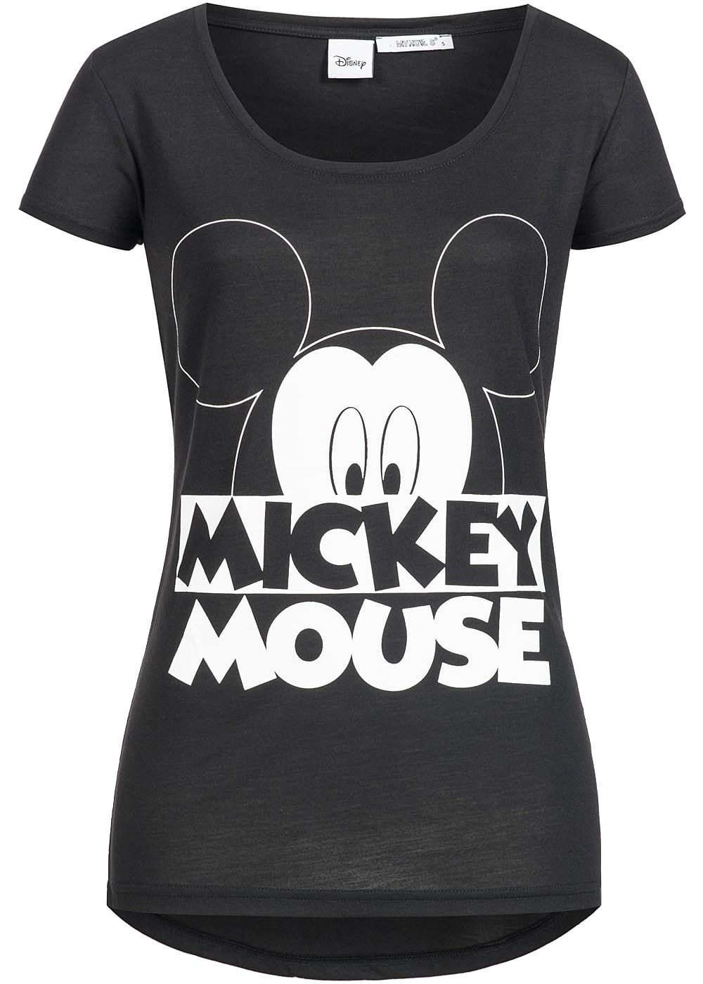 hailys damen t shirt vokuhila mickey mouse print schwarz weiss 77onlineshop. Black Bedroom Furniture Sets. Home Design Ideas